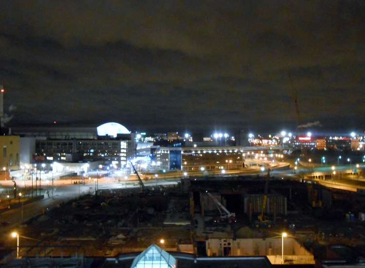 My horrible attempt, after drinks, to capture the Detroit skyline and Ford Field