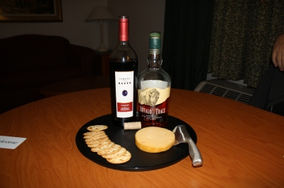 Our wine and cheese appetizer at the hotel
