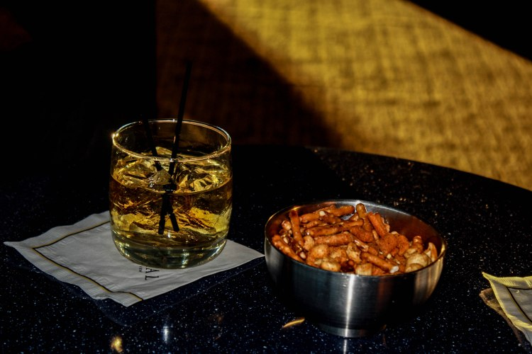 Cocktails and snack mix at the Sundial