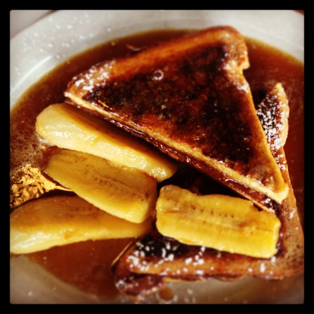 Ria's Bluebird Cafe - French toast with caramelized bananas and Nutella cream cheese