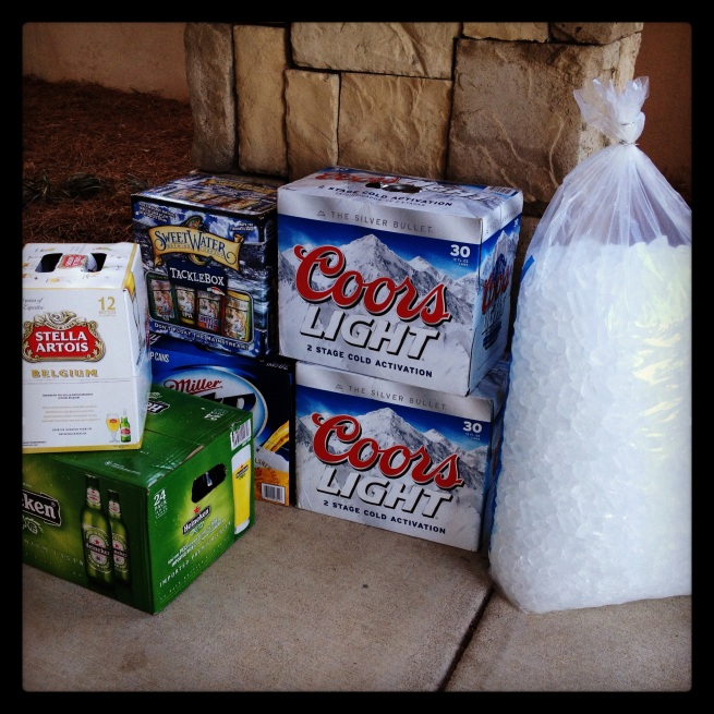 Some of the beer for our party...