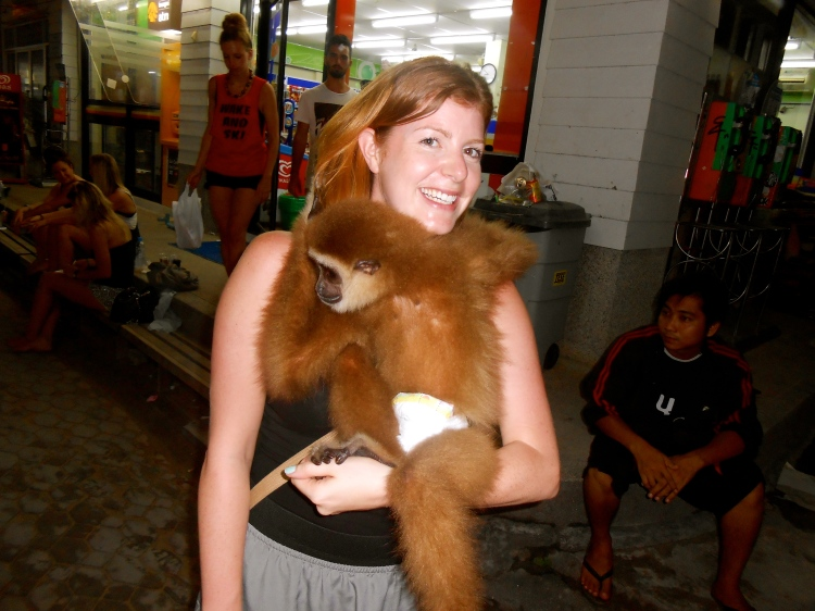 On the way out one night we met a local with a pet monkey...