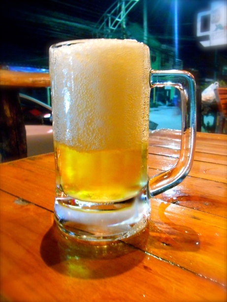 Ice cold beer, that is all slush/ice not foam