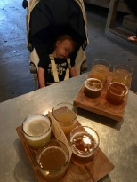 Sleeping baby and brews at Burial Beer Co